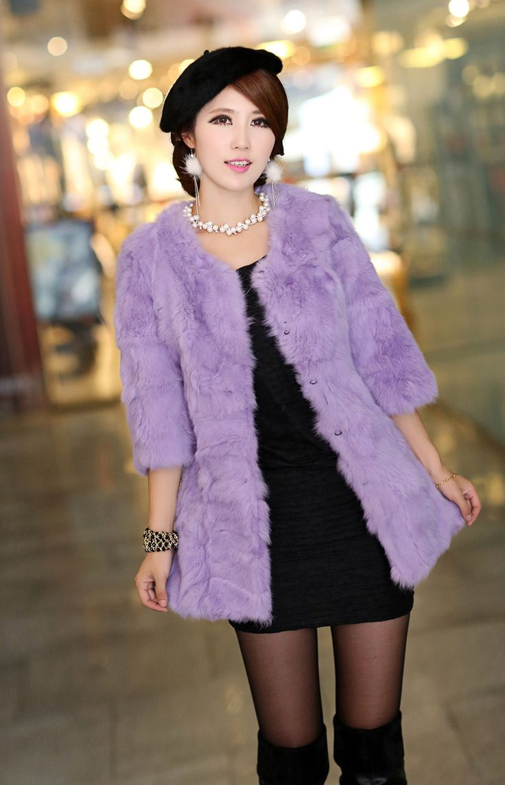 Pastel lilac plus sized fur coat - up to 6xl China size, US$73