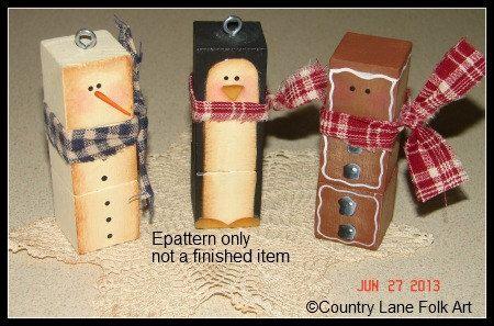 0008 We Three block heads,  Epattern, decorative painting, snowman, penguin, ginger, ornaments