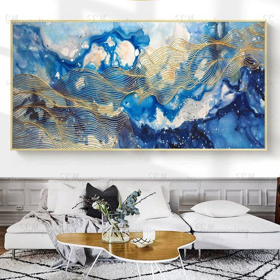Gold Lines Acrylic Abstract Paintings On Canvas Wall Art Etsy Wall Art Pictures Gold Art Painting Etsy Wall Art