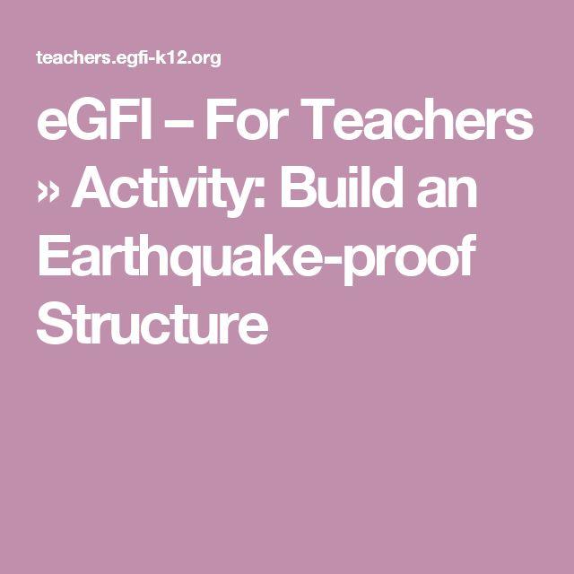 eGFI – For Teachers » Activity: Build an Earthquake-proof Structure