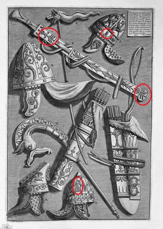 Pe armele şi echipamentul militar al dacilor, pomul vieţii era reprezentat, conform credinţei în nemurire, pentru a asigura regenerarea trupului luptătorului, în cazul în care ar fi căzut în luptă, aşa cum se poate observa din desenele întocmite după Columna lui Traian de cunoscutul artist italian Giovanni Battista Piranesi la sfârşitul secolului al XVIII-lea, sau chiar din metopele originale