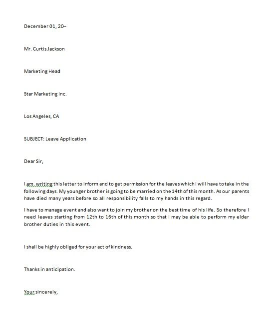 application for vacation leave letter templates free pdf word excel