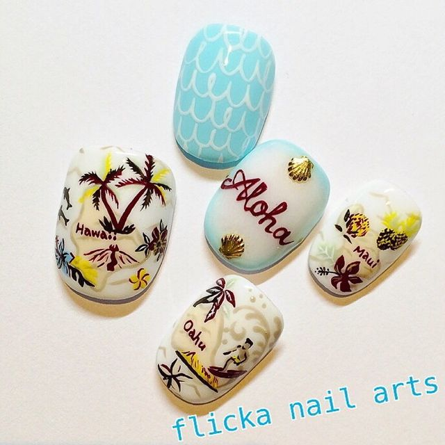 Flicka nail art tropical nails
