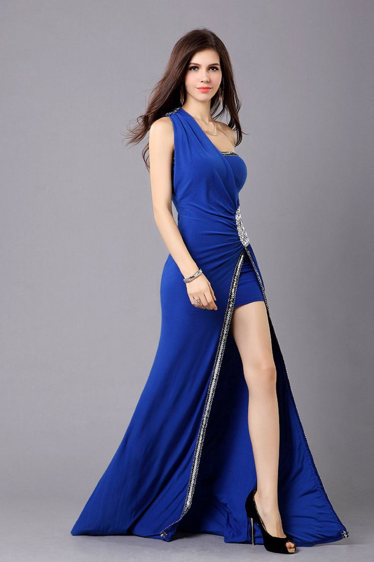 2014 High Low One Shoulder Prom Dress Rhinestone Beaded Ruffled #2103
