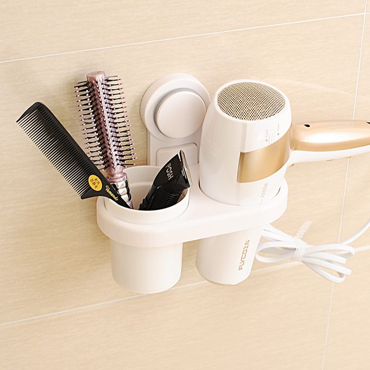 BEEGAGA Original Design Wall-Mounted Suction Hair Dryer Drier Comb Holder Rack Stand Set Plastic Bathroom Storage Organizer //Price: $20.50 & FREE Shipping //     #hairextension #style #beauty #woman #love