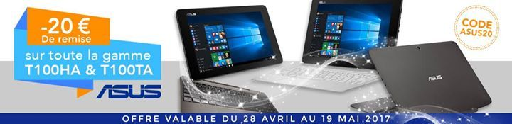 [PROMO] Dernier jour pour profiter -20€ sur la gamme #ASUS T100HA & T100TA :)  https://lc.cx/wR2h    #informatique #ordinateur #pcportable #electronics #mobiles #mobilesaccessories #laptops #computers #games #cameras #tablets   #3Dprinters #videogames  #smartelectronics  #officeelectronics