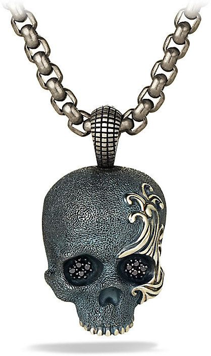 Waves Skull Amulet Necklace with Black Diamonds and Black Titanium