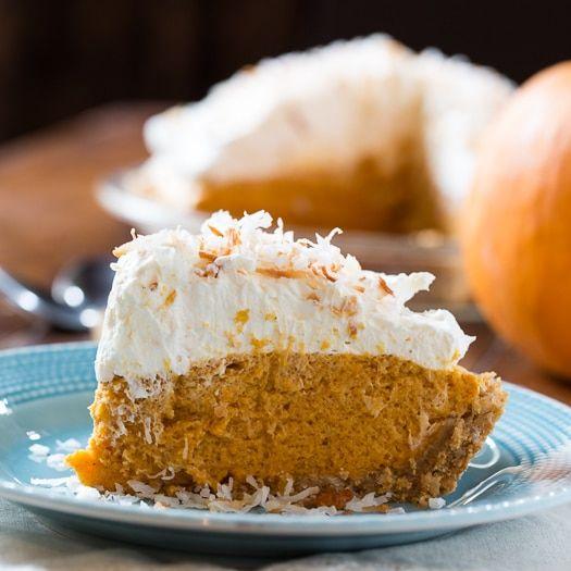Coconut Pumpkin Chiffon Pie via @FMSCLiving  No Cool Whip!