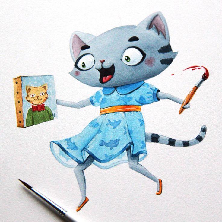 Artist cat #watercolor #artctopus #character #illustration #cat