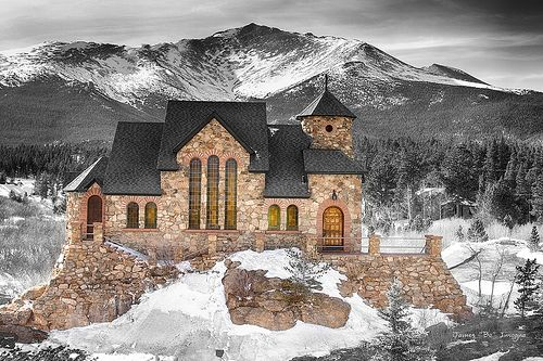Winter Season view of St Malo's Chapel on the Rock. Built atop a massive granite rock, it's in every way a part of the valley landscape. Saint Catherine's Stone Chapel on the Rock sits in the shadow of Mount Meeker, the 13,916-foot peak in Rocky Mountain National Park. | Flickr - Photo Sharing!