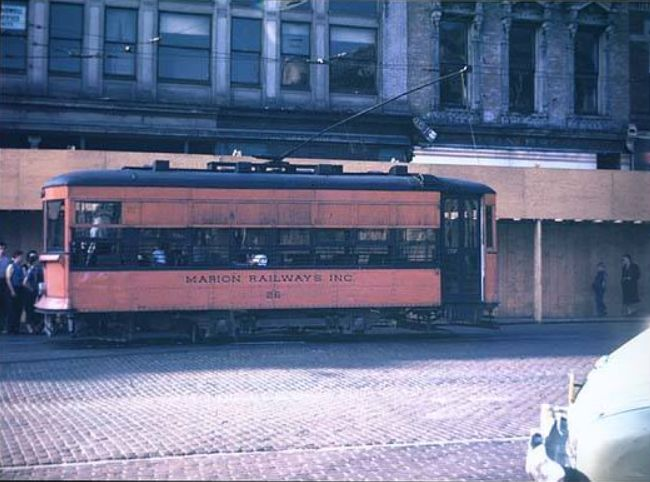 The last streetcar to run in Marion Indiana was Streetcar #26 in 1947. Photo Courtesy Marion Public Library Museum Historic Collection.