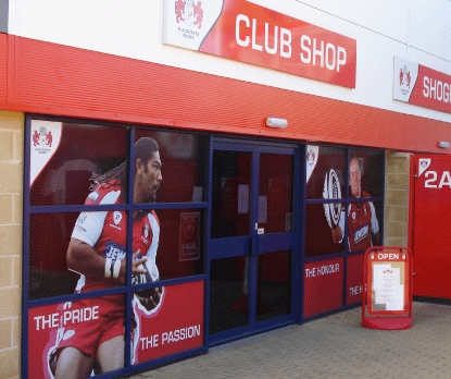 Gloucester Rugby Club Shop Branding