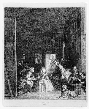 Francisco de Goya y LucientesLas Meninas, after Velázquez, ca. 1778  Etching, drypoint, burin, roulette, and aquatint; working proof of the third state  16 x 12 3/4 in. (40.5 x 32.5 cm)  Promised Gift of Derald H. and Janet Ruttenberg