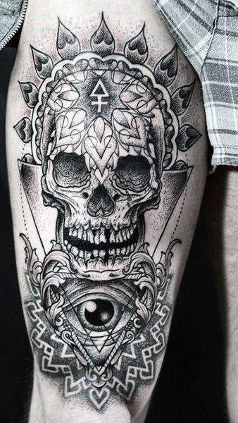 Skull Upper Leg Tattoo