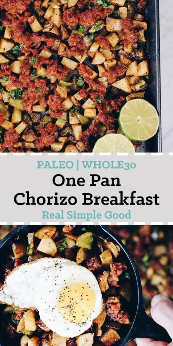 Spend a little time making this Paleo and Whole30 One Pan Chorizo Breakfast Bake. Just re-heat it for breakfast. Trust us, your morning self will thank you! | realsimplegood.com
