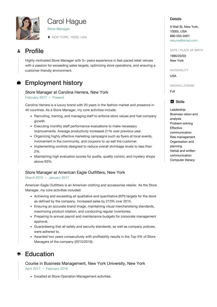 Store Manager Resume Sample, Template, Example, CV, Formal