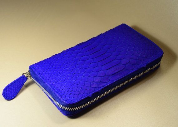 Zip around genuine python leather wallet blue by OkeanaAccessories