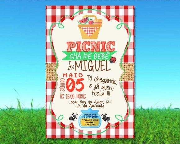 Convite Picnic Cha de Bebe Digital