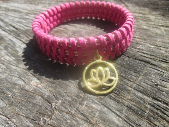 Fuchsia faux suede woven bracelet with Gold by StayingGrounded