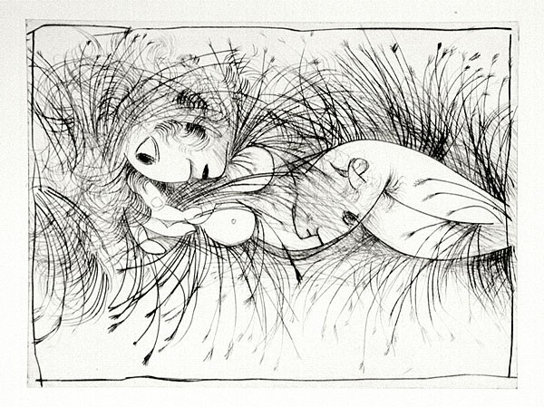 Artist: BOYD, Arthur | Title: Nude in cornfield. | Date: 1962 | Technique: etching, printed in black ink, from one plate | Copyright: Reproduced with permission of Bundanon Trust