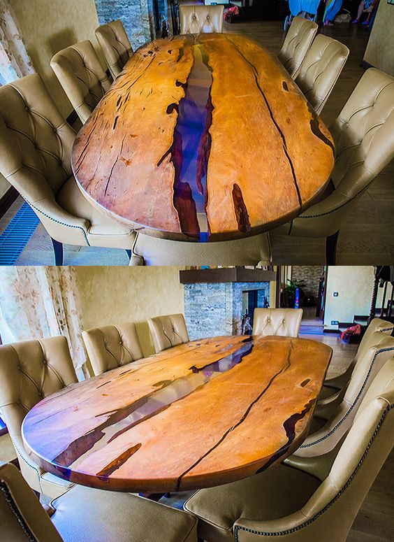 8 person dining table. A large oval dining table made of solid wood. Table in the River style from slabs of the mountain Grab and transparent epoxy resin with a blue hue.  Legs of the table - metal in black powder color. A beautiful modern wooden table for your dining room.  Size 260 x 100 x 75 cm #ovaltabledining #woodendiningtable #tableepoxywood #tableriverwood