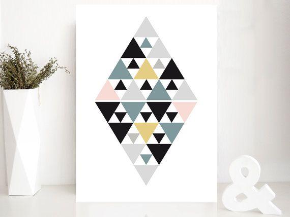 """Affiche losange """"BLUE DIAMOND"""" - poster graphique inspiration scandinave - triangle - géométrique"""