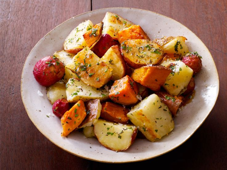 Mixed Roasted Potatoes With Herb Butter recipe from Sandra Lee via Food Network