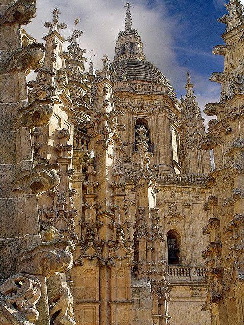 Una catedral muy bonita. Esta es ubicado en Salamanca, España. Las catedrales de España atraen muchas turistas por su santidad y belleza.
