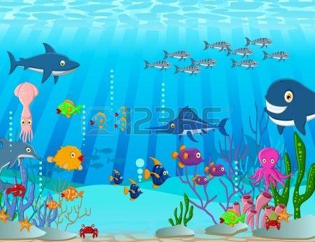 Ilustraci n de fondo de dibujos animados la vida del mar foto de archivo infantiles - Fotos fondo del mar ...