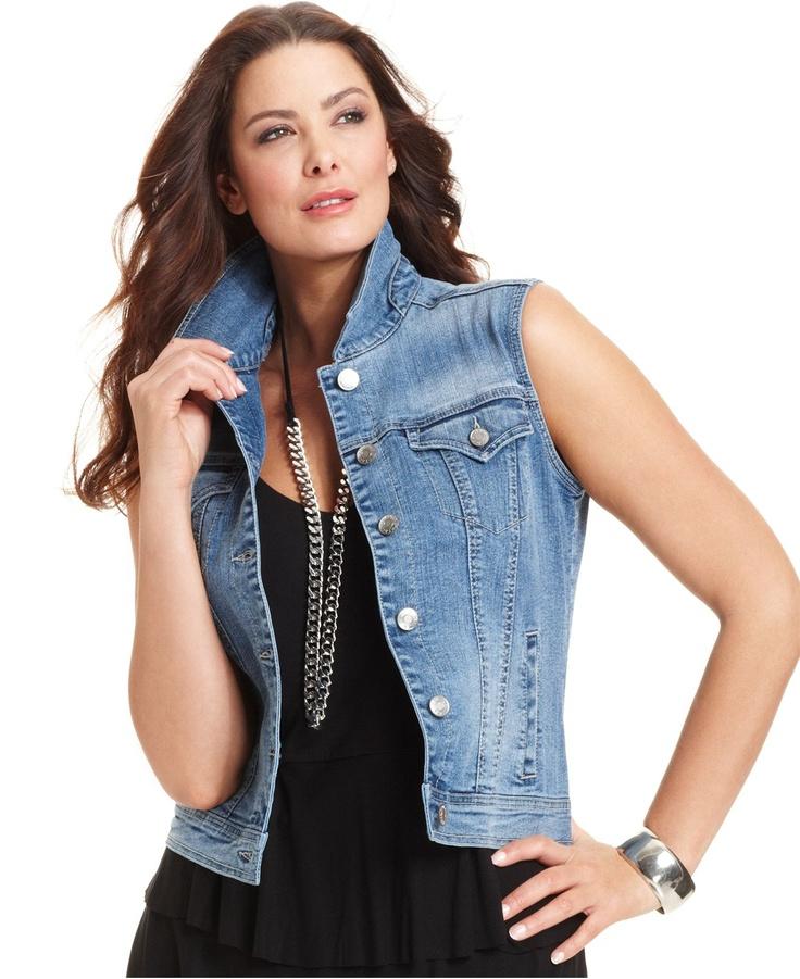 Style Plus Size Vest, Sleeveless Denim - Plus Size Jackets & Blazers - Plus Sizes - Macy's