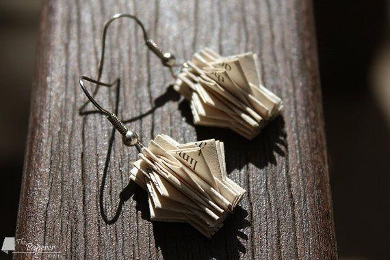 Paper Book Earrings. Star Design. Beige & Black. by ThePaperer, $35.00