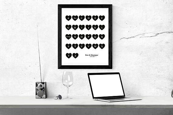 Valentines Day Gift | Personalized Couple Print | Personalized Wall Art | Gift for Couples | Engagement Gift | Wedding Gift | Gift for Her