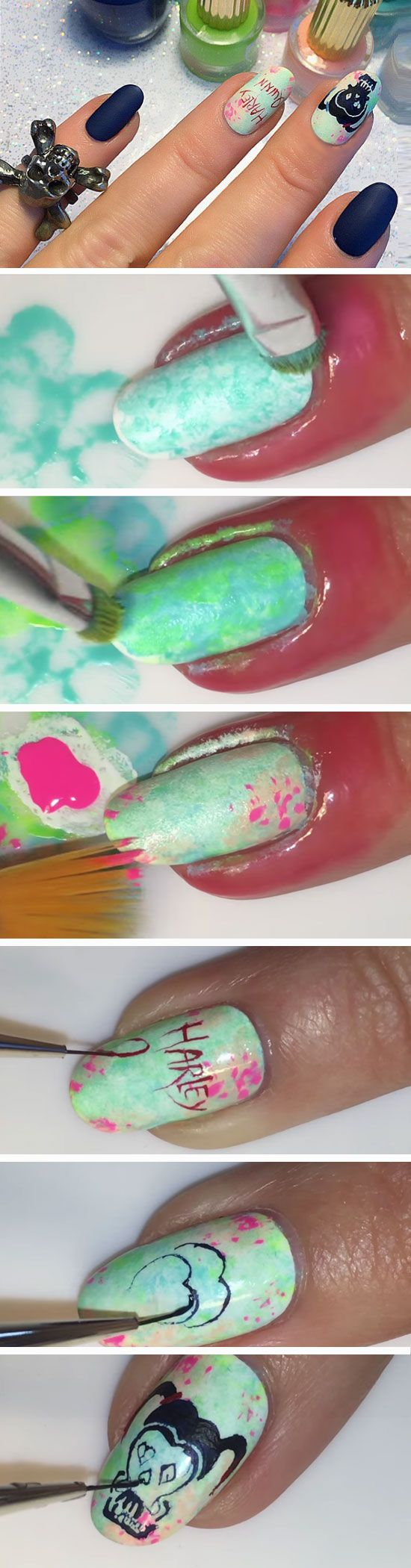 Harley Quinn Suicide Squad | 23 Easy Halloween Nail Art Ideas for Teens that are totally spooktastic!