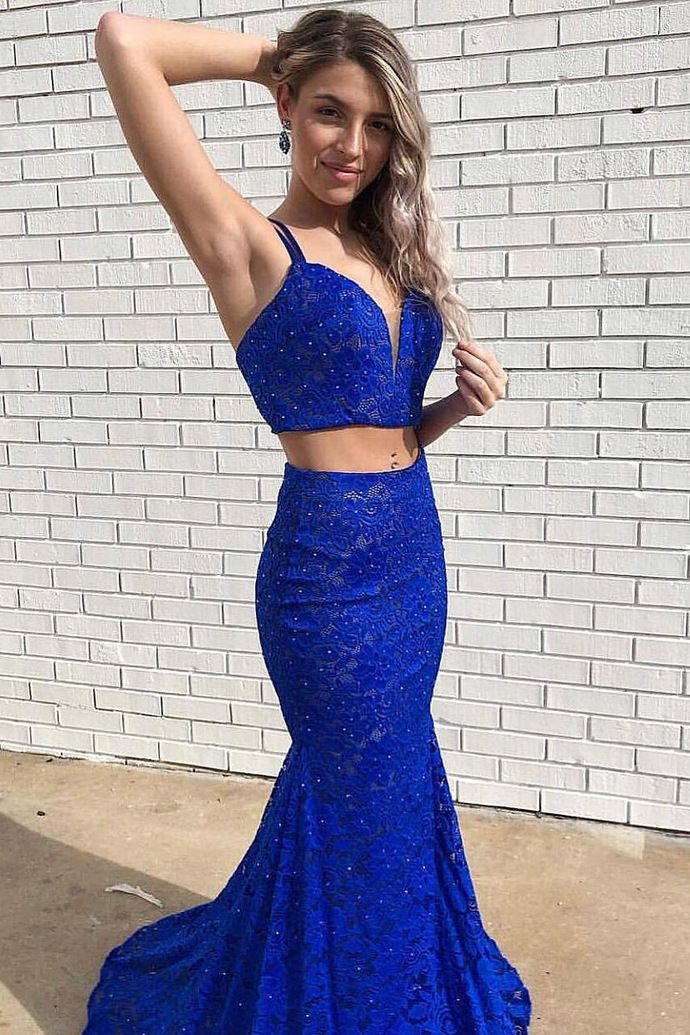 ccacbd667d5c Sexy Spaghetti Straps Royal Blue Appliques Two Piece Long Prom Dress, Sexy  Lace Evening Dress by fancygirldress, $170.10 USD