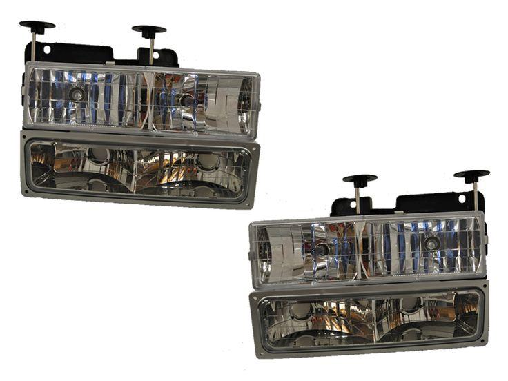 1988-1998 Chevrolet C1500/Suburban New 4-Piece Headlights Set w/Xenon Bulbs: CHEVY TRUCK 4PC SET WITH XENON… #CarHeadlights #AutoHeadlights