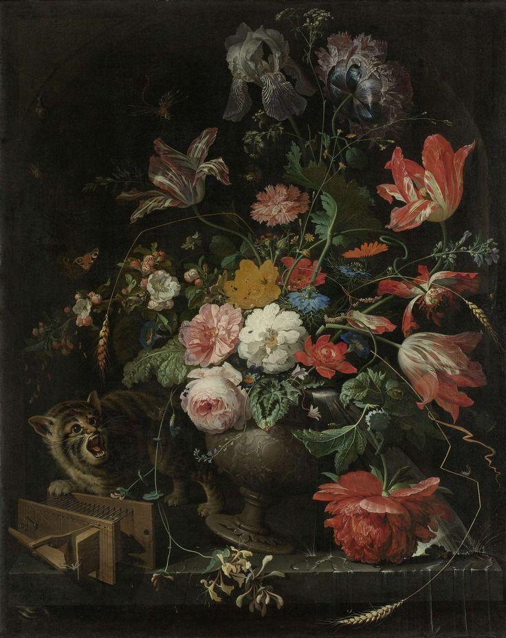 De omvergeworpen ruiker, Abraham Mignon, 1660 - 1679 Jelle De kat is cool getekent en hij is grappig