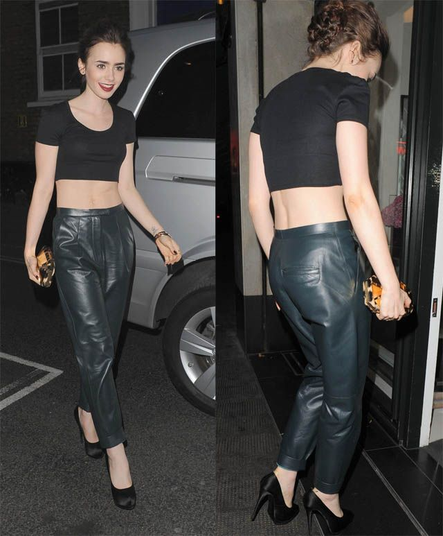 lily-collins-leather-sweat-pants