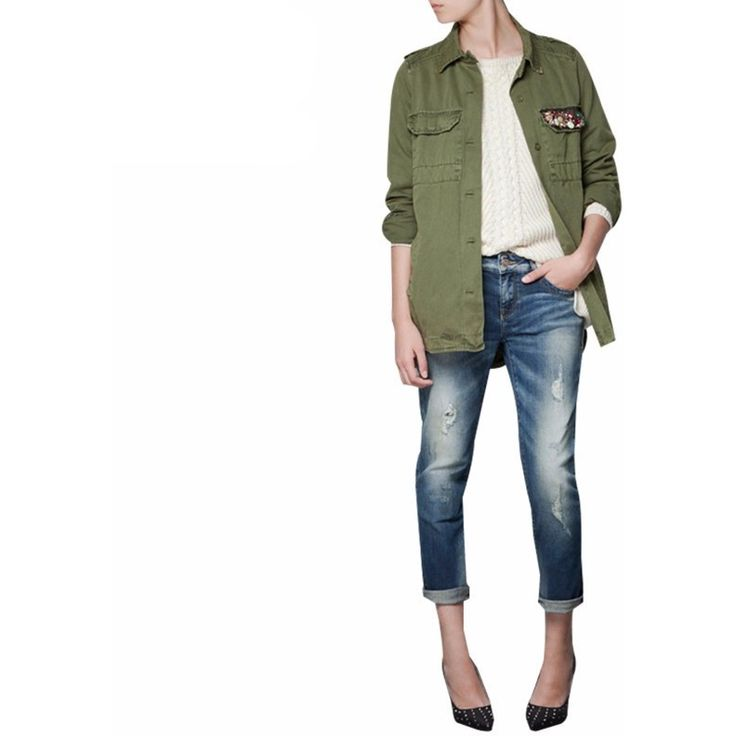 Army Green Short Trench Sequin Coat