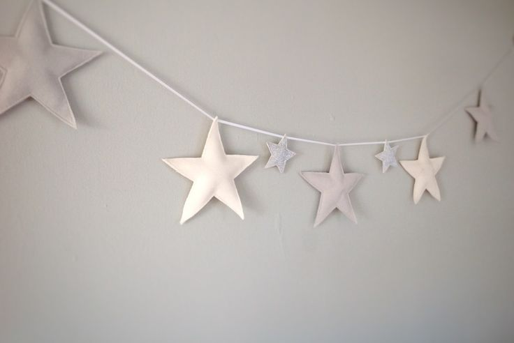 Star garland star door hanger grey nursery by Thesecretcrafthouse A hanging garland featuring five felt stars and little pom-poms in the colours of your choice. Please message with your choice of colours from the below options: White, grey, black, pink, blue, green or navy.   Available to order with five felt stars and pompoms OR five felt stars and two glitter stars.   This garland is perfect as a door hanger or for hanging on a baby's cot or child's bedroom for a magical finishing touch…