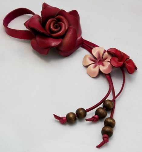 Handcrafted Genuine Leather Keychain KeyRing Pink Rose Floral Flower Bag Purse