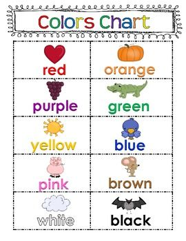 A colors chart for writing center and color posters for display around the classroom. Includes 8 main colors plus pink and white Clipart By Scrappin doodles