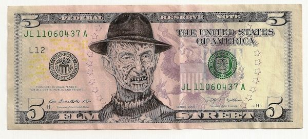 James Charles Elm Street Ink Drawing on United States Bank Note