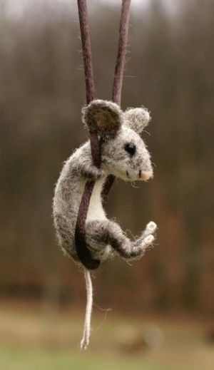 needle felted mouse. motley mutton. by natalia