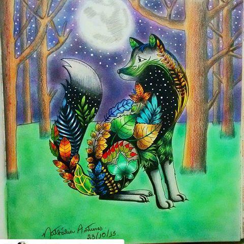 Fundo espetacular! #Repost @nathaliapauloantunes with @repostapp  ・・・#desenhoscolorir  Terminei minha raposa. Usei lápis de cor Art Grip Aquarelle e no fundo sombra de olho, as estrelas foram com tinta PVA branca.  #florestaencantada #enchantedforest #secretgarden #jardimsecreto #johannabasford #lapisdecor #artgripaquarelle