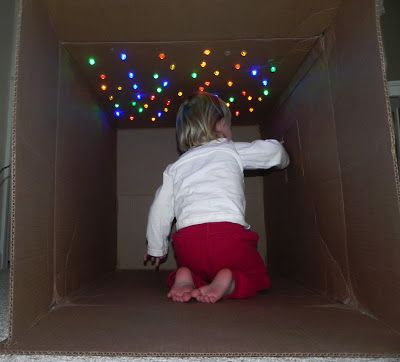Cave of Stars!! Cardboard box play for kids. Don't throw away those holiday boxes! Simple, easy and fun activity.