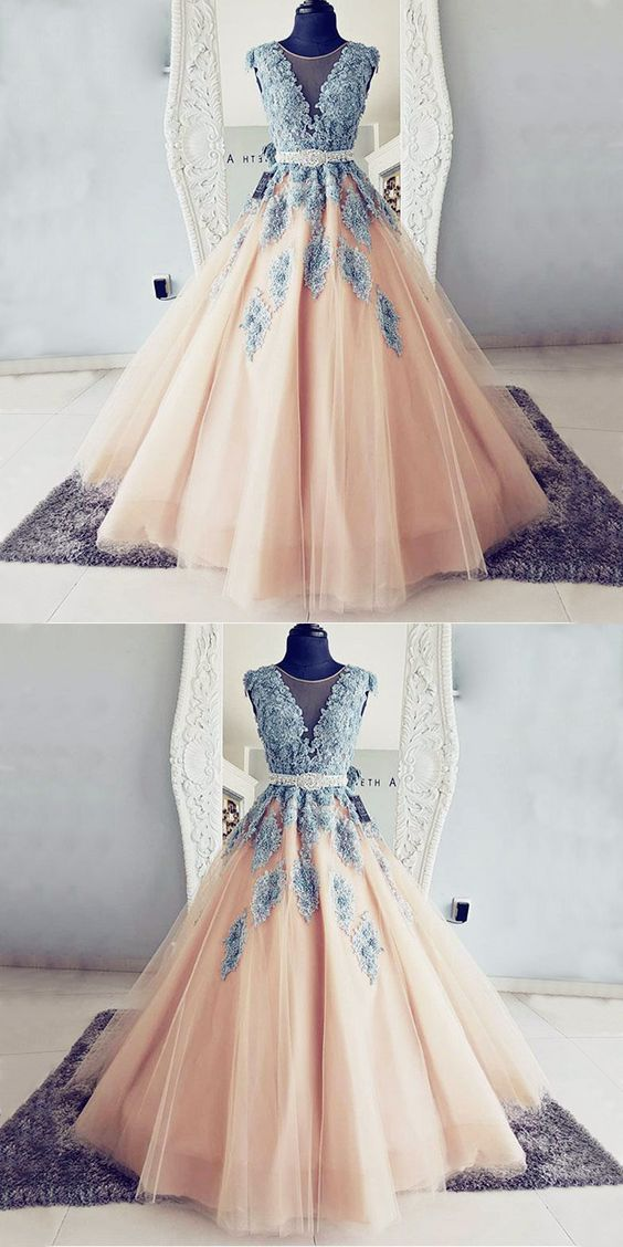 70d243b60b5 Ball Gown Round Neck Teal Blue Lace and Peach Tulle Long Prom Dresses
