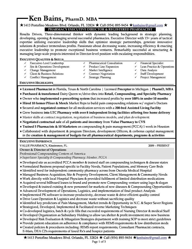 Sample Resume - Pharmacist Sample Resumes Pinterest - pharmacist sample resume