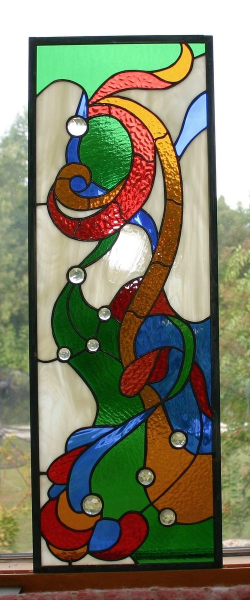 Custom Made Nouveau Stained Glass Cabinet Insert
