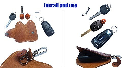 Amazon.com: MEKU Men's Handmade Genuine Leather Car Smart Key Chain Case Pocket Key Holder (Light Brown) Father Day Gifts: Shoes
