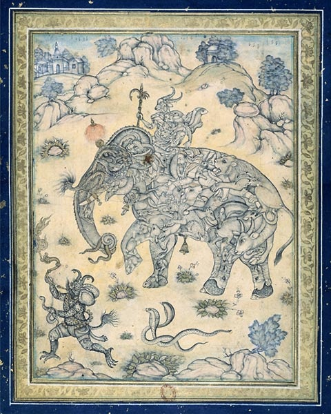 Persian miniature  Composite elephant ridden by a genie with the head of an ibex